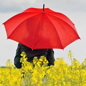 A person sitting under an umbrella