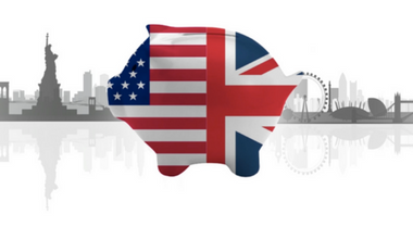CAF American Donor Fund UK and US dual piggy bank skyline image