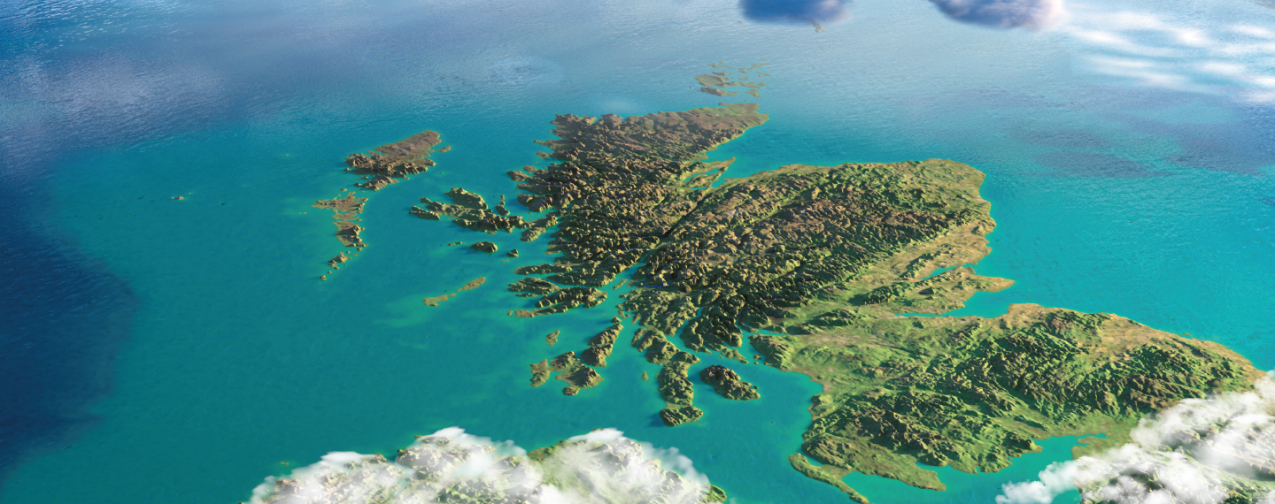 Aerial view of the map of Scotland