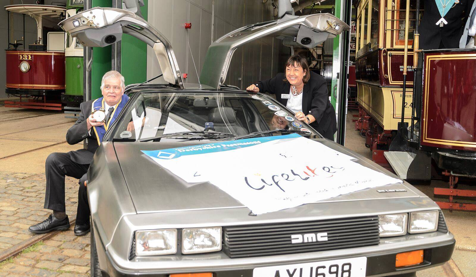 With Derbyshire Freemason in a DeLorean