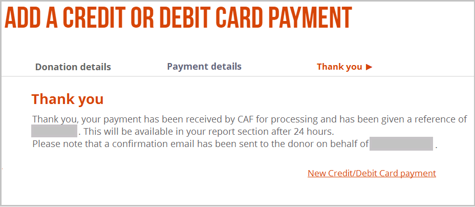 Screenshot of CAF Donate account area