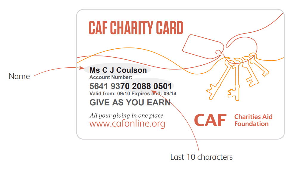 Example of a CAF CharityCard