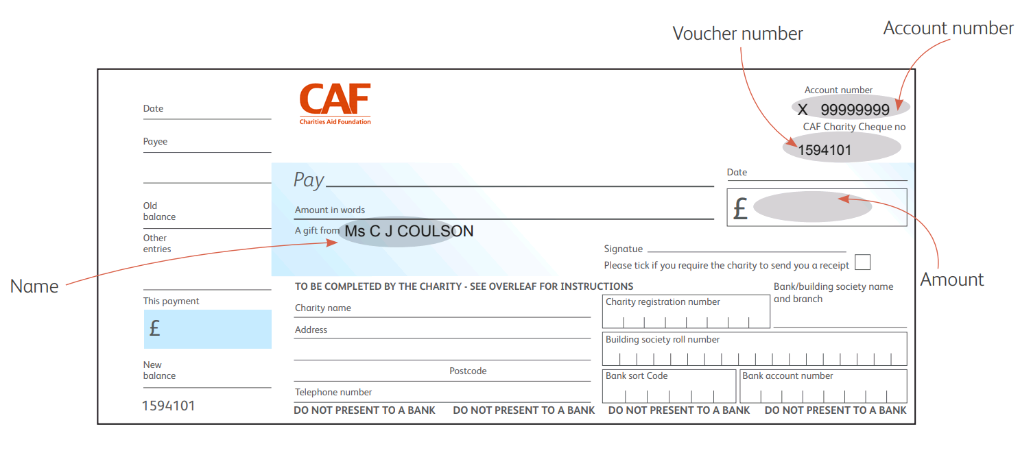 Example of a CAF Charity Voucher