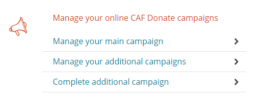 screenshot of the CAF Donate account area