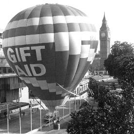 Gift Aid balloon and Big Ben 275