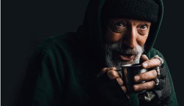 Homeless man smiling