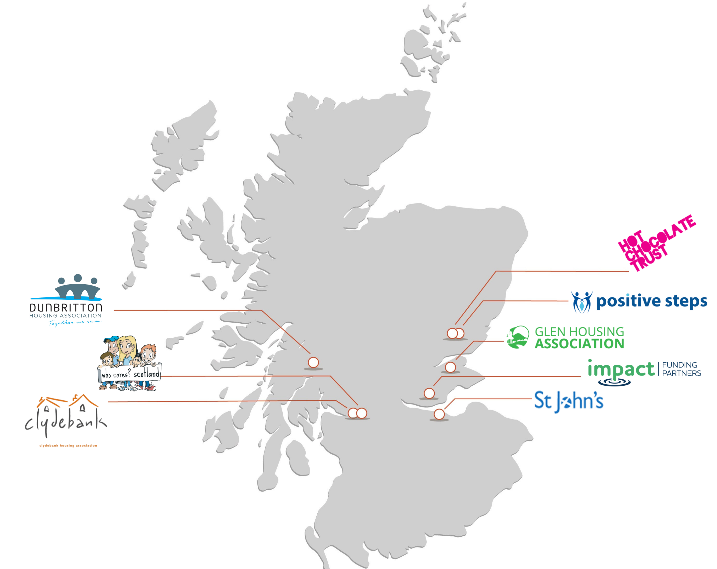 A map of Scottish charities supported by CAF