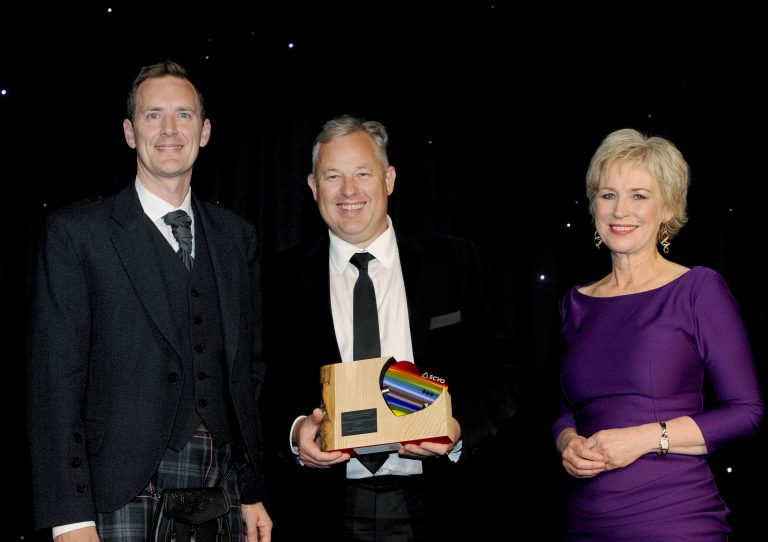 Stuart Niven presents People's Choice Award to 2019 winner, Scotland's Charity Air Ambulance