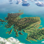 Aerial map view of Scotland