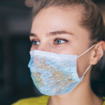 Woman wearing mask with UK