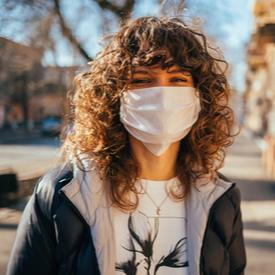 Young women wearing mask
