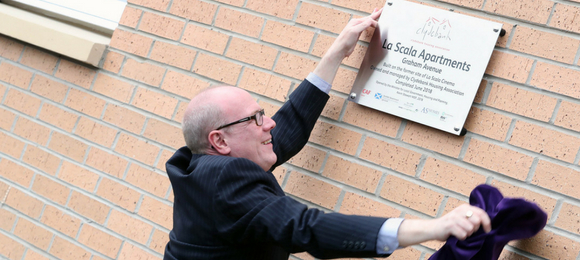 Scottish Government Minister, Kevin Stewart MSP, opening La Scala Apartments.