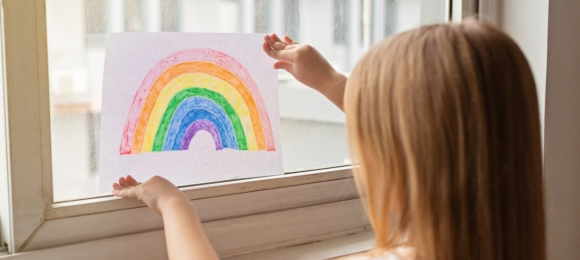 rainbow window with child