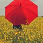 Red umbrella with rain clouds