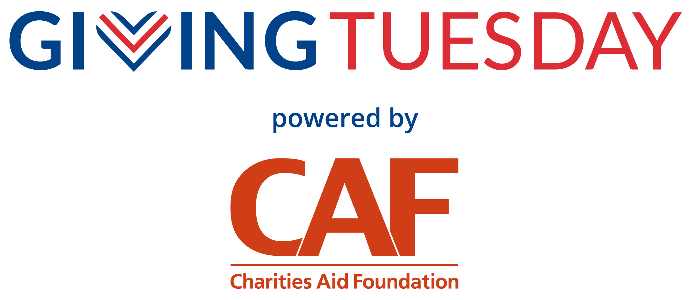 Giving Tuesday logo powered by CAF OPTION 1