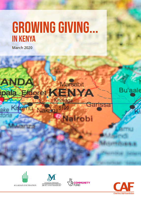 Map of Kenya for Growing Giving report front cover