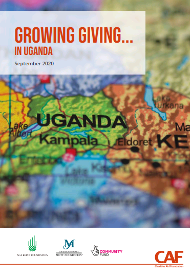 Growing Giving in Tanzania title with map of Uganda