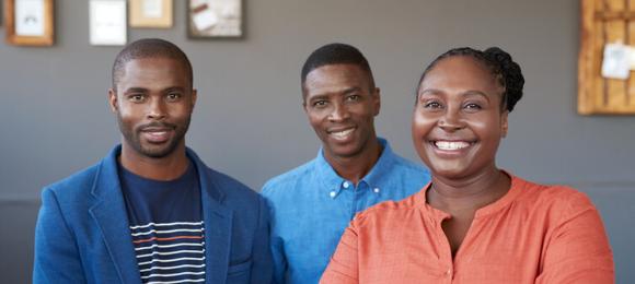 Group of Kenyan friends smiling