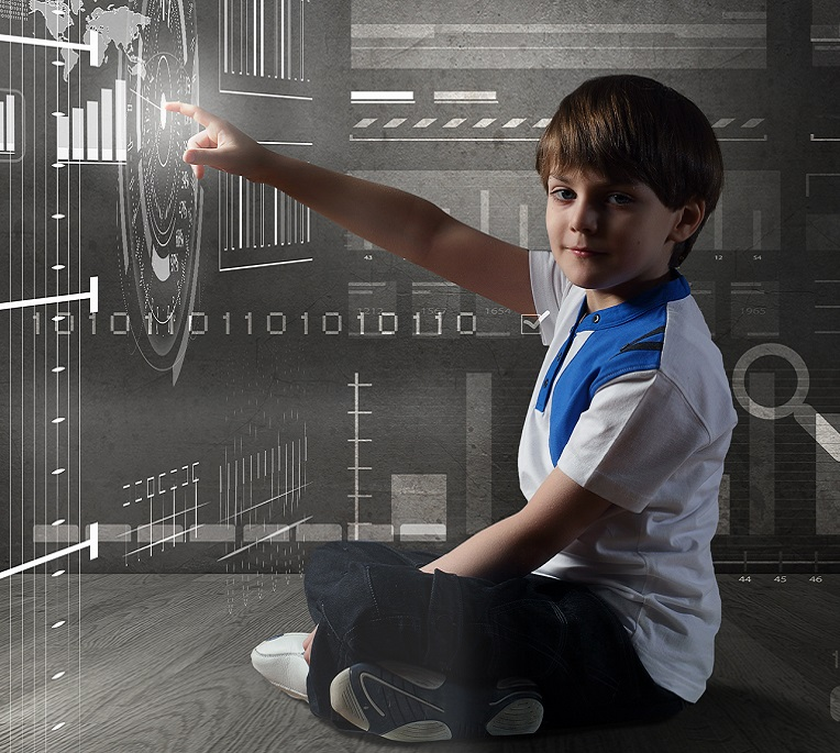Boy in a virtual environment