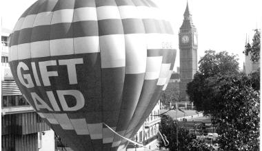 Gift Aid balloon and Big Ben