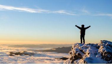 Reaching a mountain peak