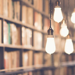 library of books and hanging lights unsplash item 150