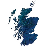 Blue map of Scotland