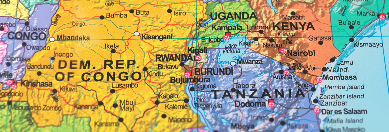 Map of Kenya, Uganda and Tanzania